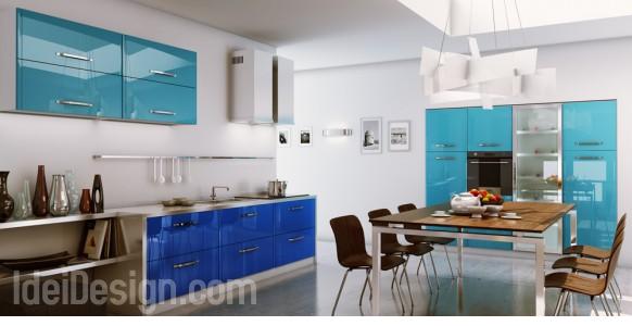 bucatarie culoare albastra