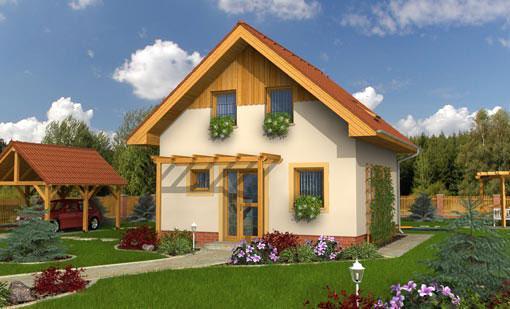 casa de vacanta din lemn cu fatada