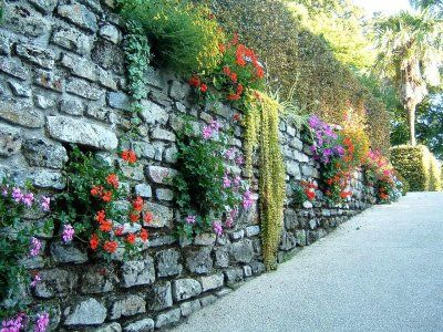 gard din piatra decorat cu flori